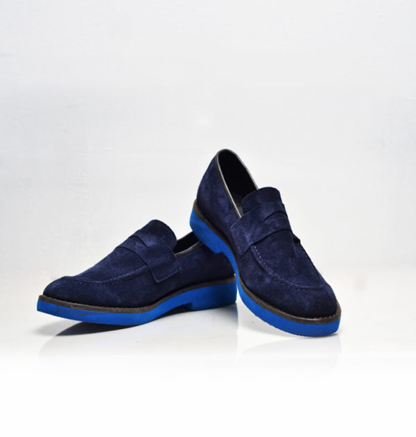 Blue Swede Penny Loafers (Upper Culture)
