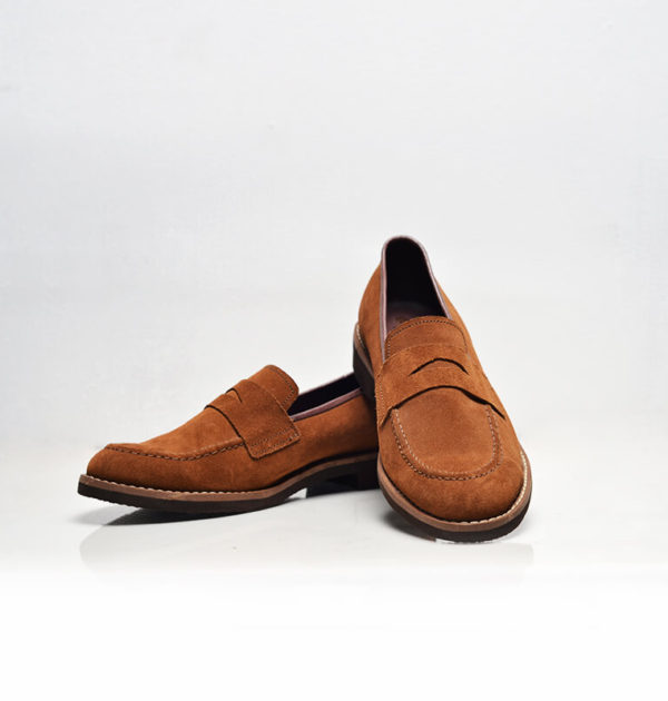 Brown Swede Penny Loafers (Upper Culture)